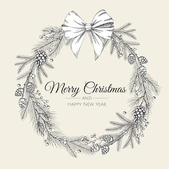 白い弓と木の手描きのクリスマスリース