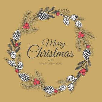 手描きのクリスマスリース。ベクトル休日イラスト。