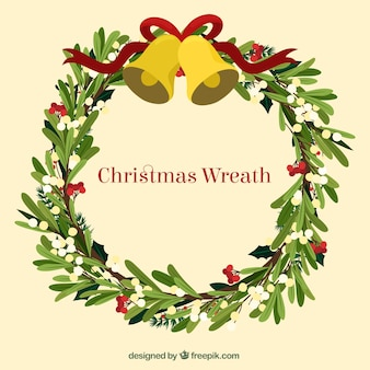 Hand drawn christmas wreath with a golden bell