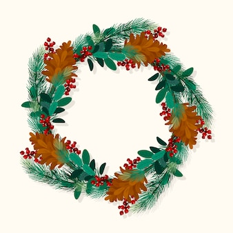 Hand drawn christmas wreath