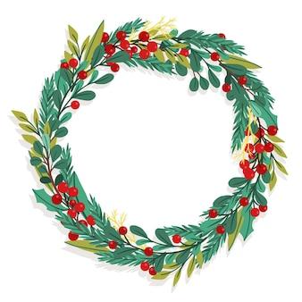 Hand drawn christmas wreath