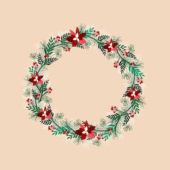 手描きのクリスマスリース