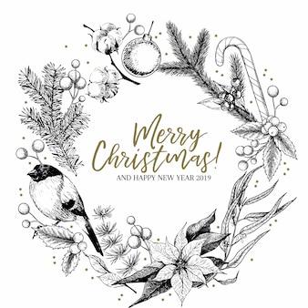 Hand drawn christmas wreath.