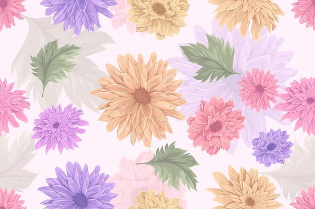 手描きの菊の花のシームレスなパターン デザイン