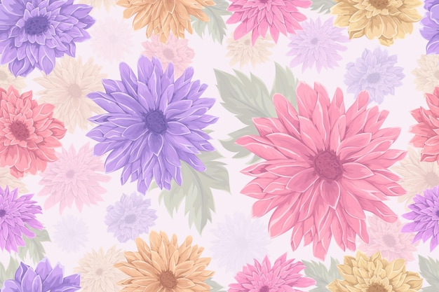 손으로 그린 국화 꽃 완벽 한 패턴 디자인