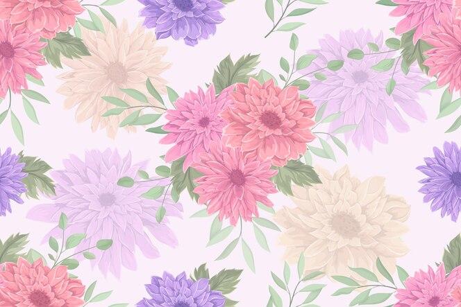 disegno del modello senza cuciture del fiore del crisantemo disegnato a mano