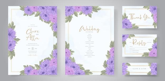 手描きの菊の花の結婚式の招待状のテンプレート