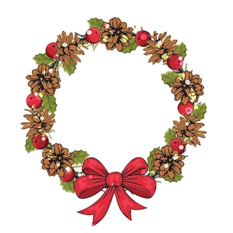 Hand drawn chtistmas frame made from pine cones and a bow. traditional winter object.