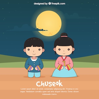 Hand drawn chuseok composition