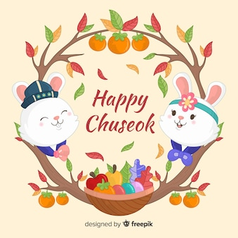 Hand drawn chuseok day with rabbits