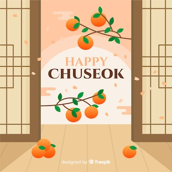 Hand drawn chuseok full moon