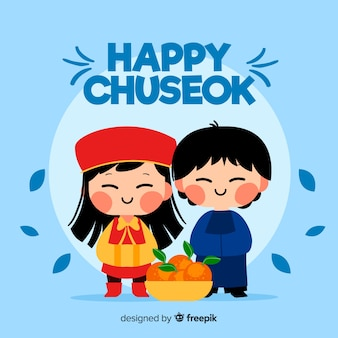 Hand drawn chuseok greeting card