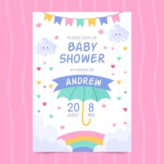 Hand drawn chuva de amor baby shower invitation card