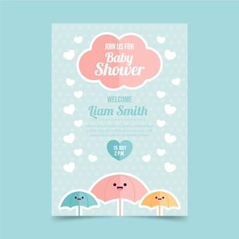 Ручной обращается chuva de amor baby shower пригласительный билет