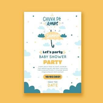 手描きchuvadeamorベビーシャワーの招待カード