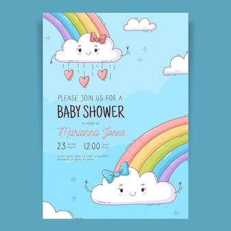 Hand drawn chuva de amor baby shower invitation