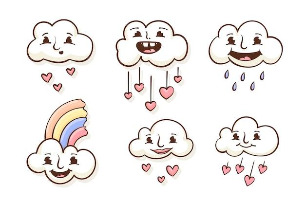 손으로 그린 chuva de amor 장식 요소 컬렉션