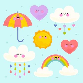Коллекция рисованной chuva de amor elements
