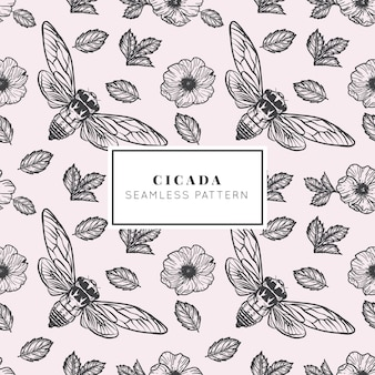 Hand drawn cicada seamless pattern