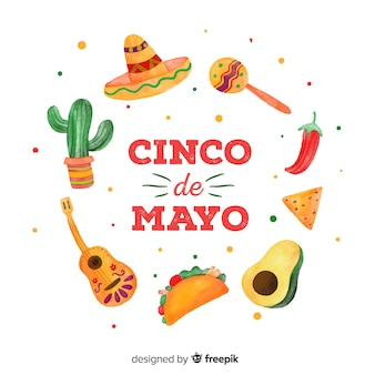 Hand drawn cinco de mayo background