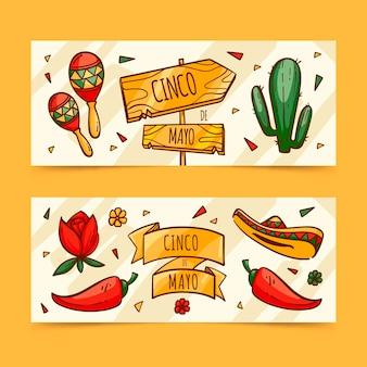 Hand drawn cinco de mayo banners set