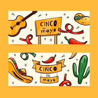 Hand drawn cinco de mayo banners set