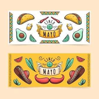 Hand drawn cinco de mayo banners template