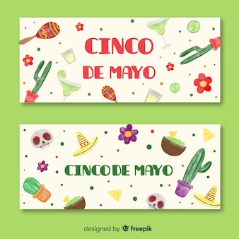 Hand drawn cinco de mayo banners