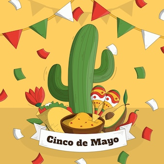 Hand drawn cinco de mayo cactus and maracas