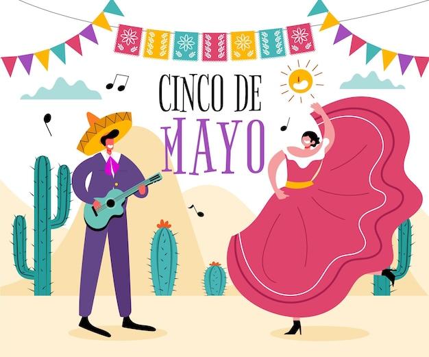 Нарисованная рукой иллюстрация синко де майо