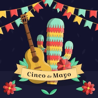 Hand drawn cinco de mayo music and pinata cactus