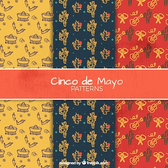 Hand drawn cinco de mayo patterns