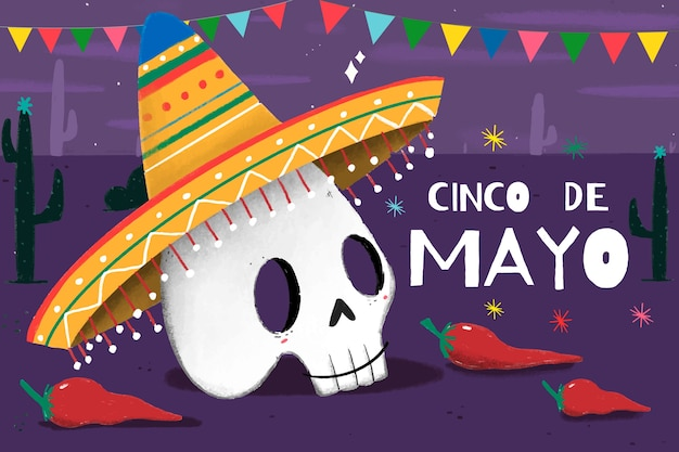 Hand drawn cinco de mayo skull with sombrero
