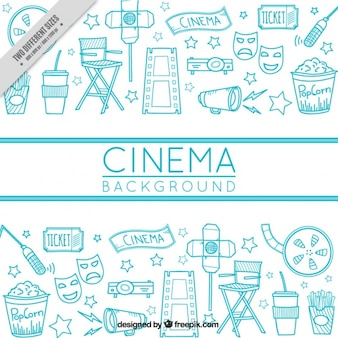 Hand-drawn cinema background with different objects