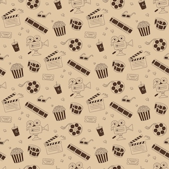 Hand drawn cinema seamless pattern with movie camera, clapper board, cinema reel and tape, popcorn in striped box, film ticket and 3d glasses. vector illustration in doodle style on sepia background