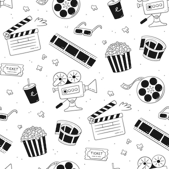 Hand drawn cinema seamless pattern with movie camera, clapper board, cinema reel and tape, popcorn in striped box, film ticket and 3d glasses. vector illustration in doodle style on white background.