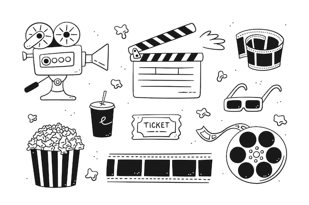 Hand drawn cinema set with movie camera, clapper board, cinema reel and tape, popcorn in striped box, film ticket and 3d glasses. vector illustration isolated in doodle style on white background