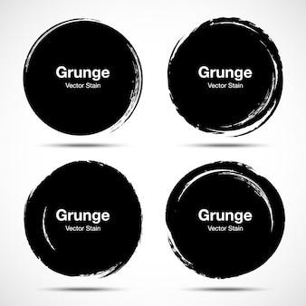 手描きサークルブラシスケッチセット。円形グランジ落書きメッセージマークデザイン要素の丸い円。ブラシ汚れ汚れテクスチャ。バナー、ロゴ、アイコン、ラベル、バッジ。