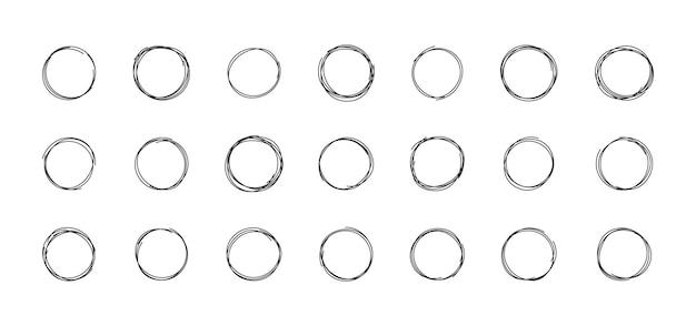 手描きの円デザイン要素の円メッセージメモラベルブラシインク円