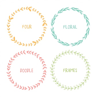 Hand drawn circle doodle floral frames.