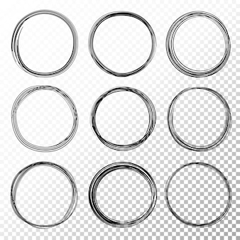 Hand drawn circle line sketch set on transparent background. circular scribble doodle circles for message note mark design element. pencil or pen graffiti bubble or ball draft illustration.