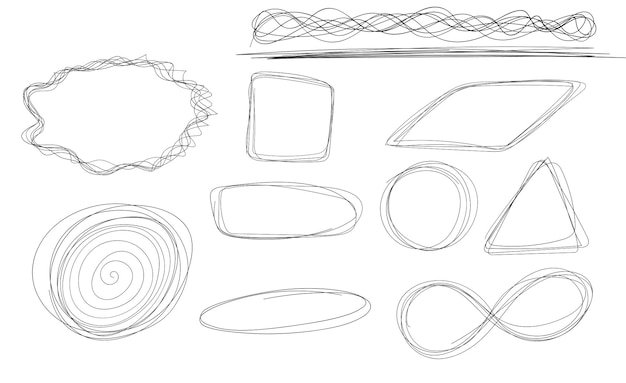 Hand drawn circle line sketch set vector circular scribble doodle circles for message note mark
