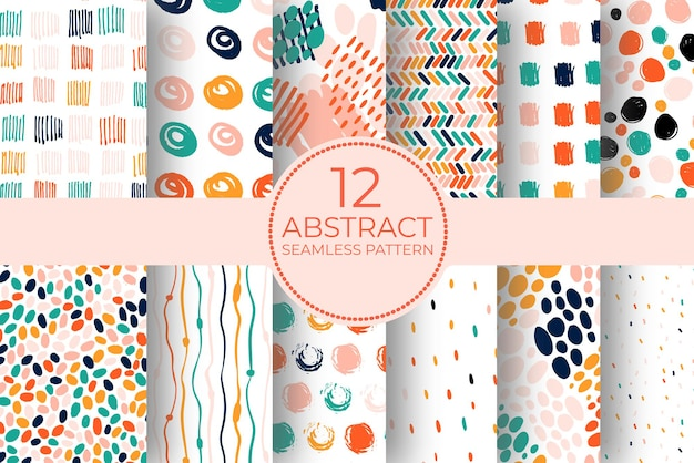 Hand drawn circle pattern of brush stroke. vector seamless pattern set geometric texture shapes. abstract background coolection of polka dot style in bright color. decorative print with mosaic texture