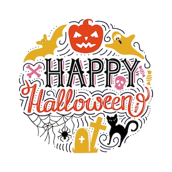 Hand drawn circle print with lettering happy halloween.