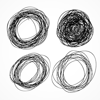 Hand drawn circle scribble set