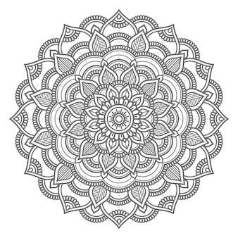 Hand drawn circle style line art mandala illustration