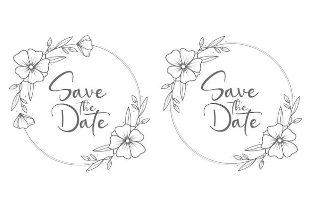 손으로 그린 원 스타일 최소한의 결혼식 배지 프레임 및 모노그램
