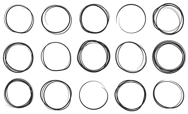 手描きの円円形ブラシペンストローク落書きベクトルセット