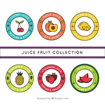 手描きの円形のフルーツジュースのラベル