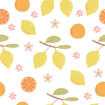 Hand drawn citrus fruits pattern